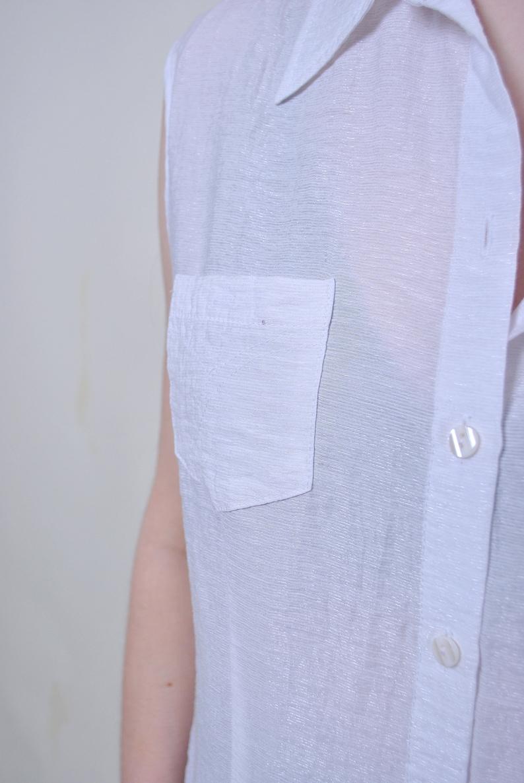 Size M Vintage white transparent sleeveless summer blouse