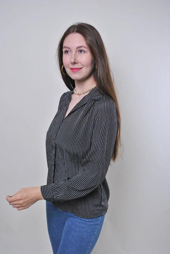 Vintage formal suit striped black blouse Size M