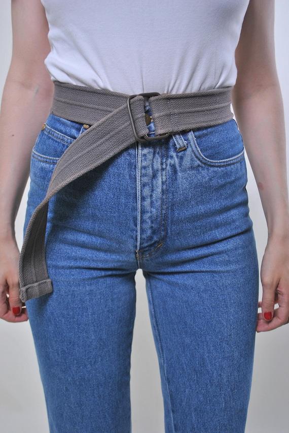 Vintage minimalist oversized cotton grey belt