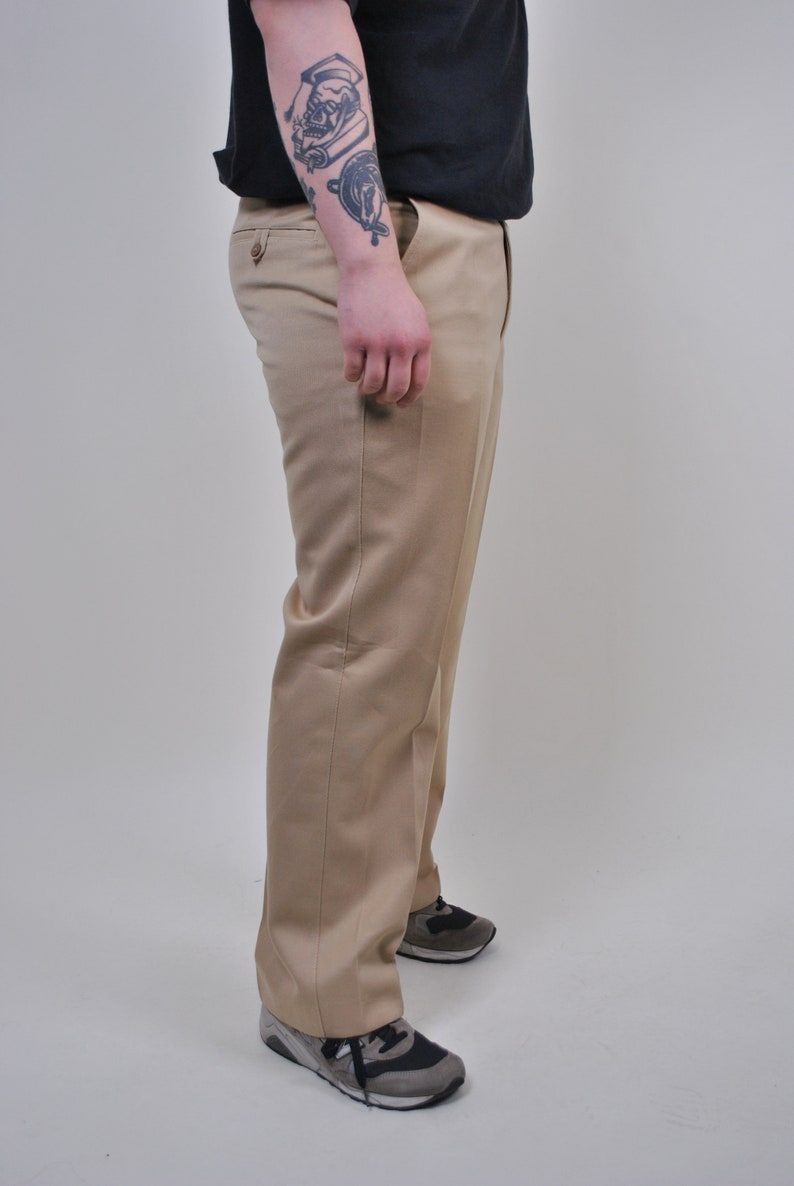 Size W 36 vintage suit chino pants 90s beige formal trousers