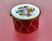 Limoges Vintage Porcelain box by Dumont, Hand painted French trinket box