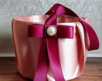 Rose gold flower girl basket, Wine flower girl basket, wedding baskets, wedding accesories, rose petals basket, rose gold wedding.