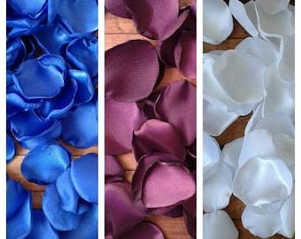Royal blue, eggplant, and white rose petals, flower girl petals, wedding flowers, aisle runner decor, wedding cake decor, fall wedding.
