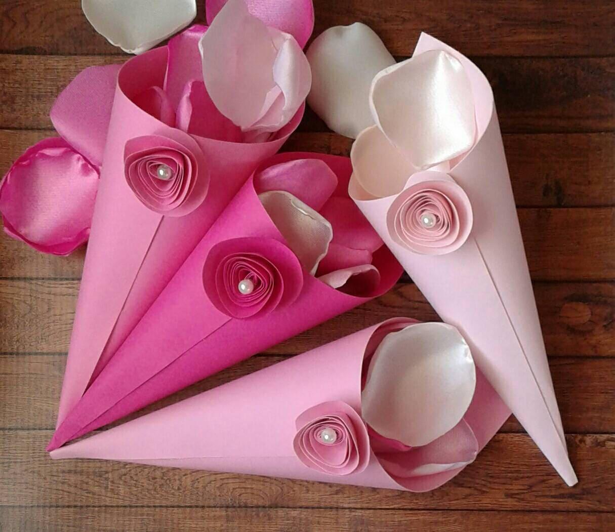 Pink paper cones petal cones confetti cones sweet 16