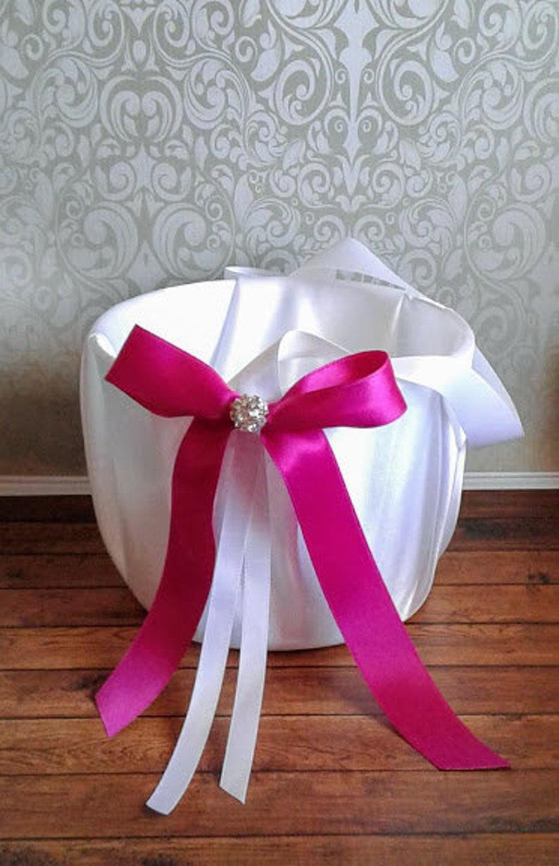 flower girl basket. Magenta Flower girl basket flower girl wedding flower basket flower girl accessories satin flower girl basket