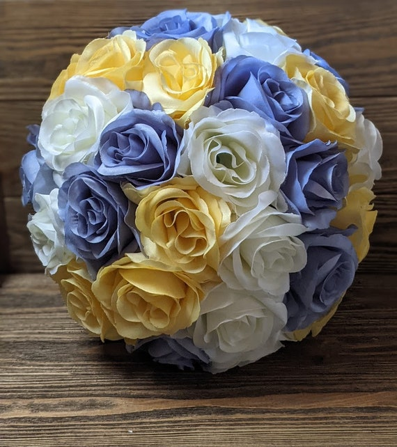 Dusty Blue Wedding Centerpieces Flower Balls Yellow Kissing Balls Farm House Decor Table Decor Artificial Flower Arrangements By Wedding Decor Garden Catch My Party