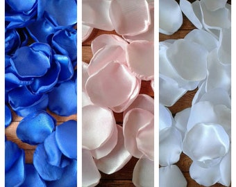 Royal blue and blush rose petals, wedding decorations, table decor, party decor, bridal shower decoration, wedding flowers, centerpieces.