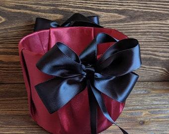 Burgundy and Black flower girl basket, flower girl accessories, wedding supplies, wedding ceremony, wedding baskets, kids baskets.