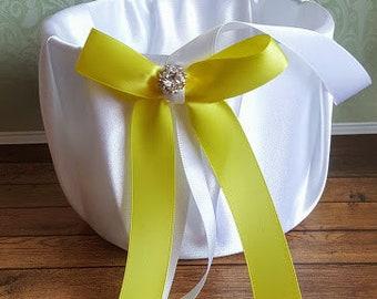 Yellow Flower girl basket, wedding flower basket, satin flower girl basket, flower girl, flower girl accessories,  flower girl basket.
