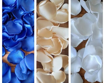 Royal blue and cream rose petals, wedding decorations, aisle runner decor, flower girl accessories, wedding flowers, centerpieces, bulk.