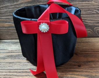Black and red flower girl basket, red and black wedding, custom flower girl basket , flower girl accessories, flower girl basket Black.