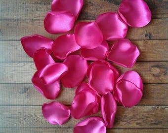 Fuchsia Wedding,rose petals, satin rose petals, flower girl petals, wedding petals, aisle runner decor,wedding toss, flower petals.