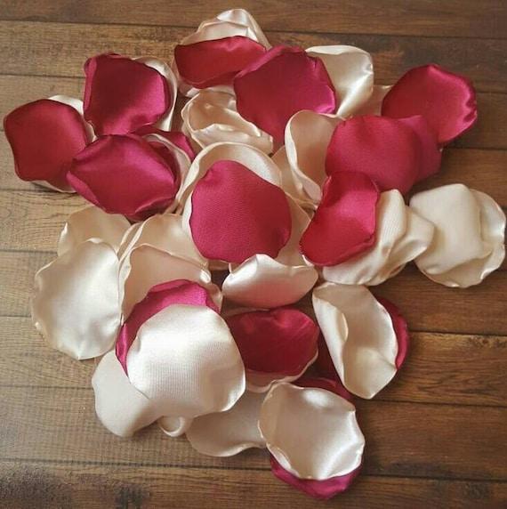 Wedding Decor Burgundy Champagne Wedding Rose Petals Table Etsy