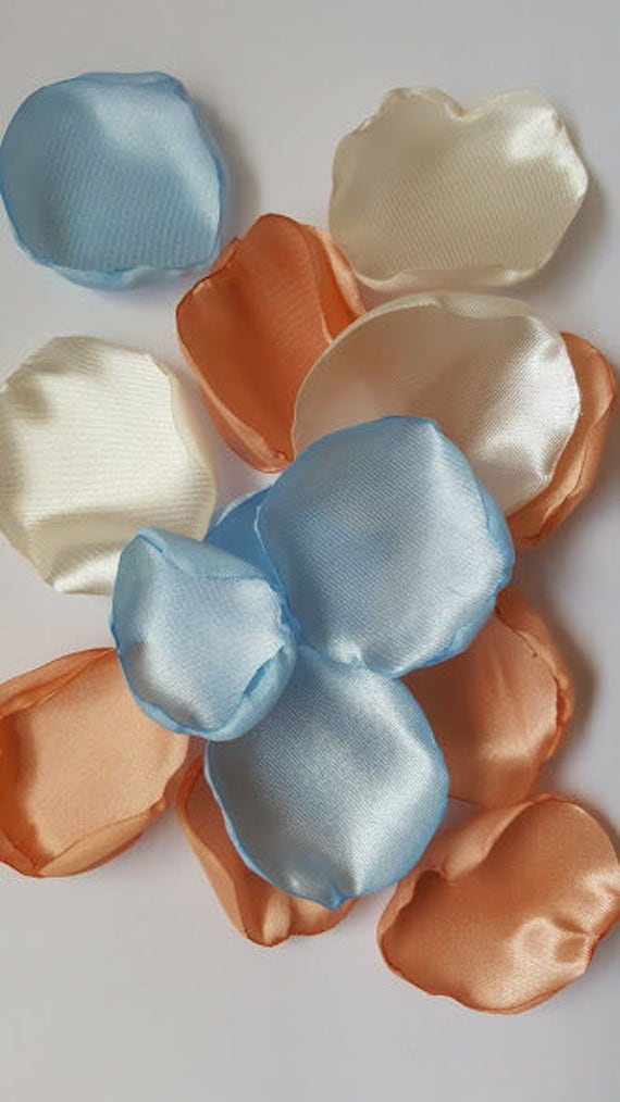 Peach Wedding Peach Rose Petals Light Blue Petals Blue Wedding