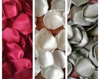 Burgundy and sage flower petals, wedding toss, rose petals, flower girl, winter wedding, greenery, table décor, centerpieces, fall rustic.