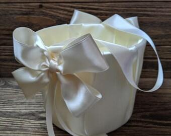 Ivory  Flower girl basket,White or Ivory  wedding basket, flower girl, flower girl accessories, flower girl basket, flowergirl basket.