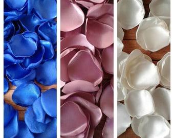 Royal blue and mauve rose petals, wedding decorations, wedding table decor, party decor, bridal shower decor, centerpieces, flower girl.