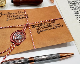 Custom Hand Written Copperplate Calligraphy Letter with Sealing Wax in a Vintage Brown - Fast Shipping from Utah, USA
