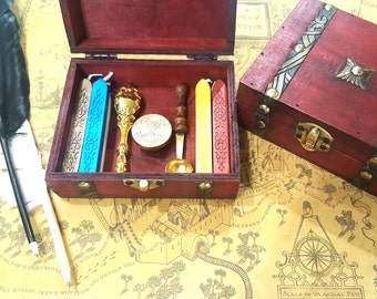 Complete Sealing Wax GIFTBOX Vintage Wood Box, Wax Spoon, Wax Seal Stamp, Wax Seal Sticks. Great for invitation. Fast Shipping From Utah.