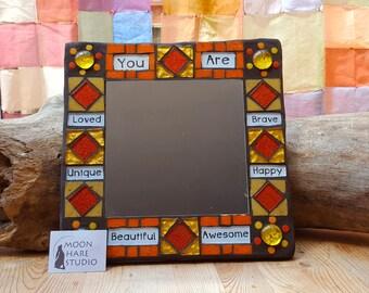 Positive Affirmation Mosaic Mirror Orange Gold