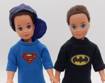 Vintage Todd doll clothes: Superman and Batman outfits (sold separate)