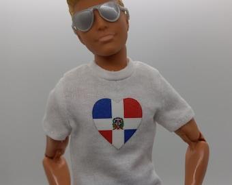 Ken doll clothes: Dominican Republic T-shirt DR flag island Santo Domingo Republica Dominicana