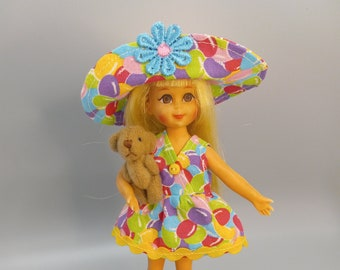 Vintage Skipper/Tutti clothes: Tutti dress, hat and Teddy bear