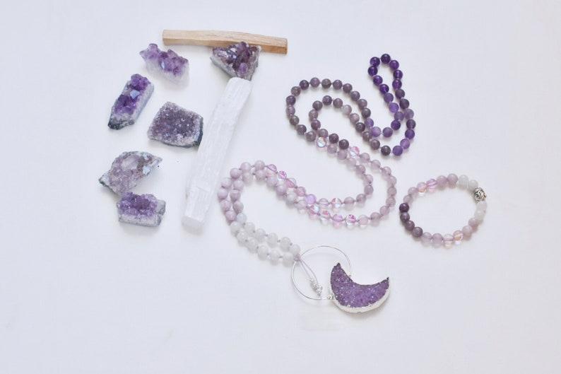 Rainbow Moonstone Kunzite Lepidolite Mala Necklace Japa Mala Moon Druzy Amethyst Matte Amethyst Mala | Love Goddess Mala