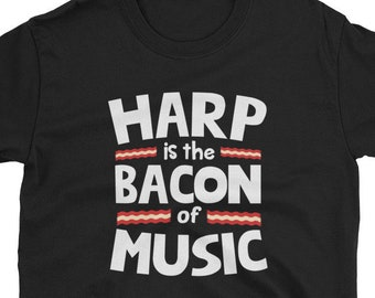 Mens ONLY A FEW BECOME HARP PLAYERS Harmonica Jazz Funny Novelty Music T-Shirt