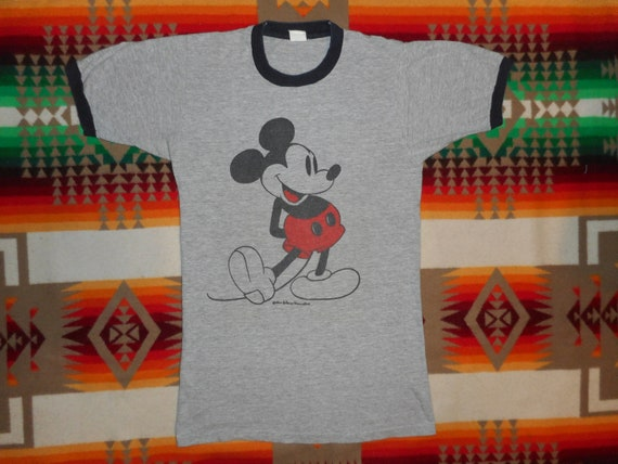 Mickey Mouse Heather Grey Ringer T Shirt Sz Small