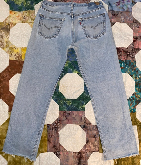 Levis 501 Button Fly Distressed Jeans Sz - image 2