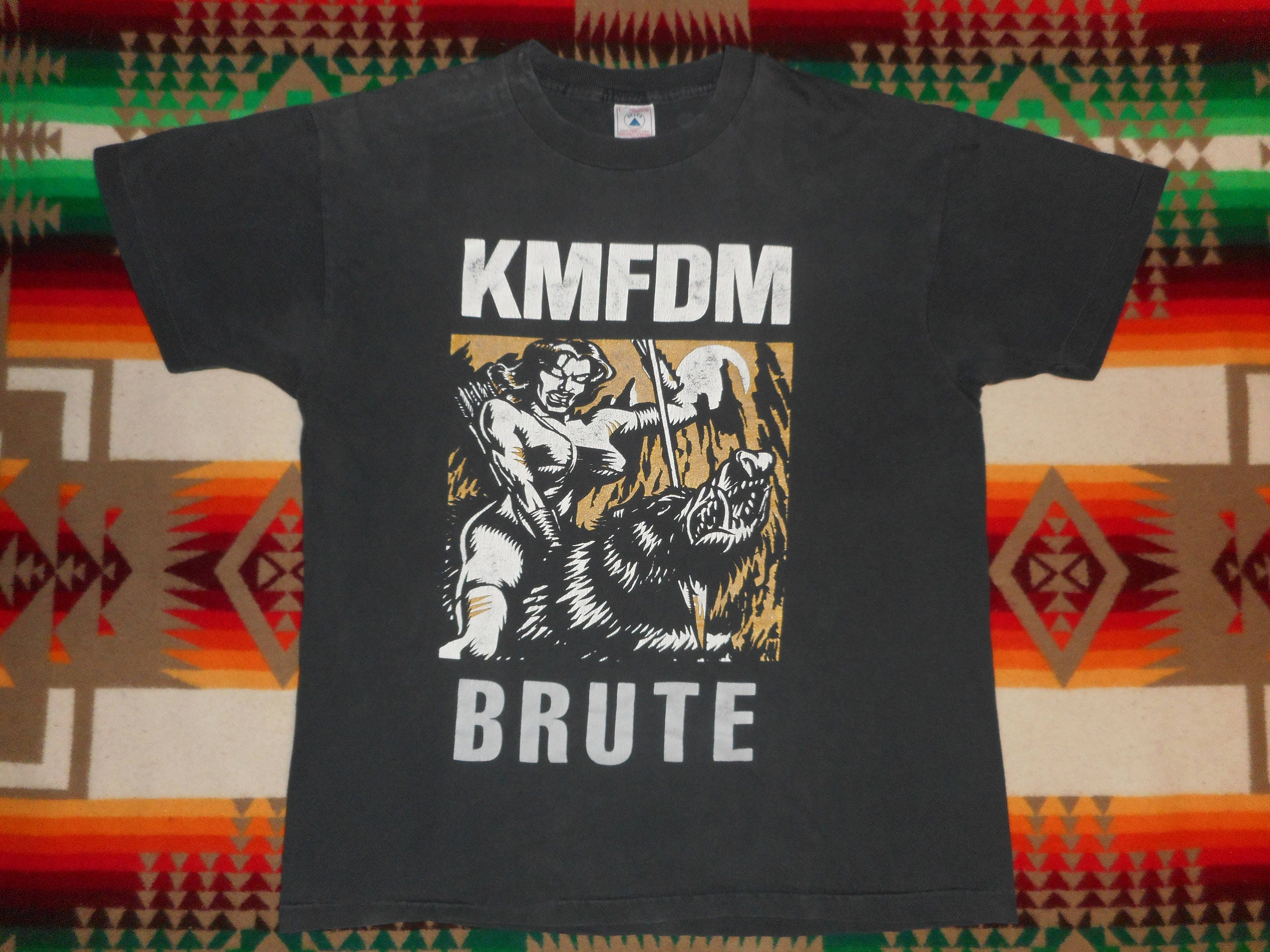 90s Kmfdm Brute T Shirt Size Large Skinny Puppy Pigface Front Etsy