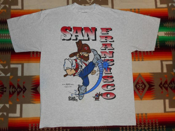 Deadstock 90s San Francisco 49ers Cartoon Miner T Shirt Size Etsy