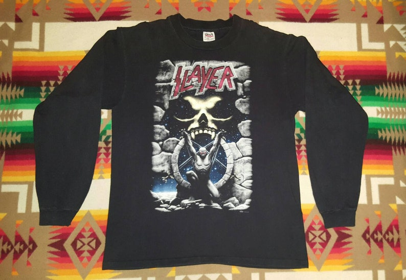 Slayer Long Sleeve T Shirt Sz L Thrash Metal Metallica Sepultura Megadeth Exodus