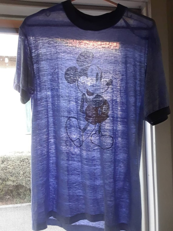 Mickey Mouse Heather Blue Paper Thin Ringer T Shir