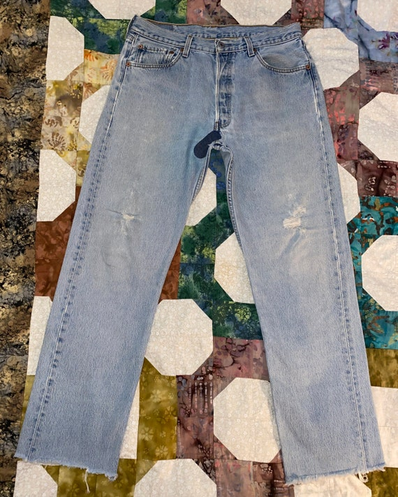 Levis 501 Button Fly Distressed Jeans Sz - image 1
