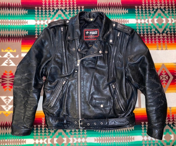 Classic Leather Gear First Motorcycle Jacket Sz L