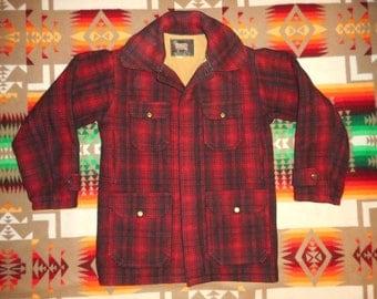 WOOLRICH Red And Black Plaid Mackinaw Cruiser Wool Jacket Sz M
