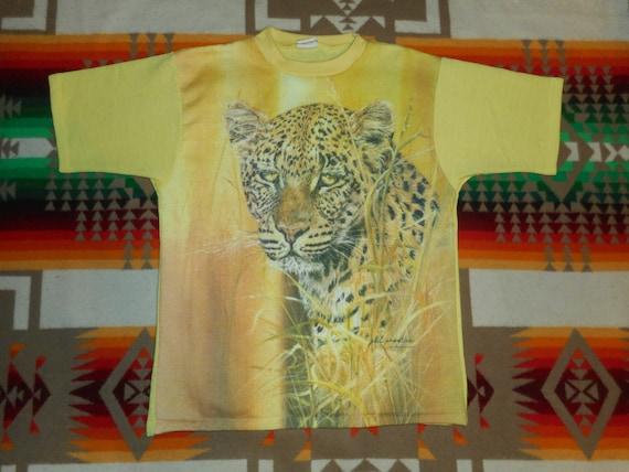 70s Phil Prentice Leopard Nature T Shirt Sz Small
