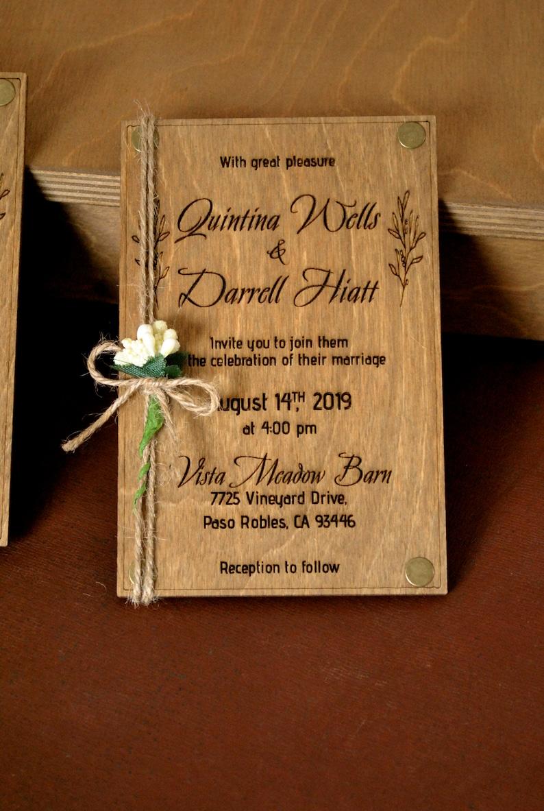 Real Wood Wedding Invitation 4x6 Laser Engraved %100 image 1