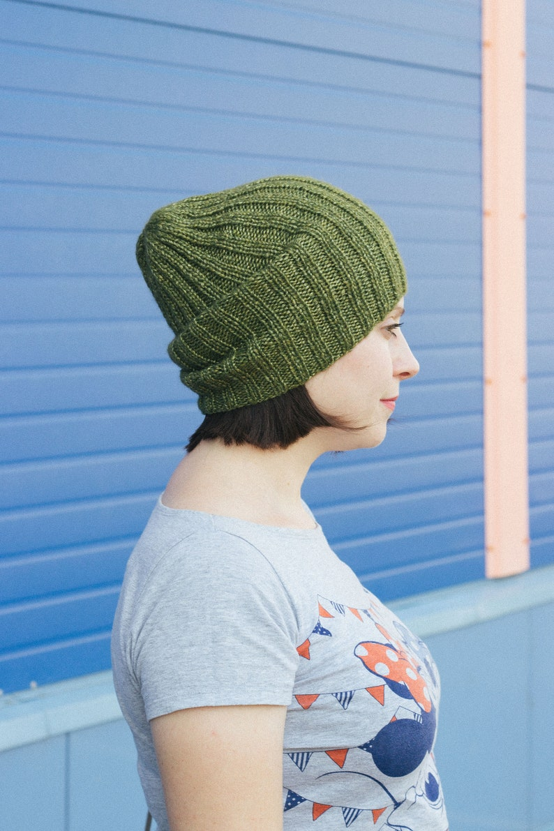 Olive green knitted hat Ribbed slouchy hat Alpaca wool  5e020cbc764b