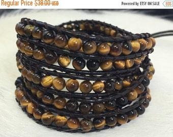 SALE Bracelet, Leather Wrap Bracelet, Tigers Eye Bracelet, Stacked Bracelet, Beaded Bracelet, Brown leather bracelet, Tigers Eye, 5 wrap,