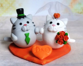 Cats cake topper, Cat cake topper, Custom wedding cake topper, bride and groom
