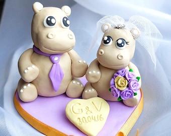Hippo cake topper Hippo couple wedding cake toppers Wedding hippo Lovely hippo cake