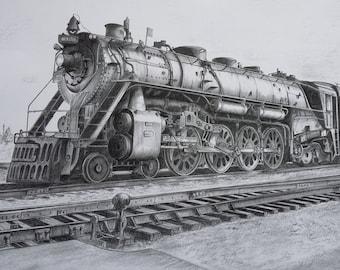 Hand drawn pencil print of American locomotive 6323 train Grand Trunk Western