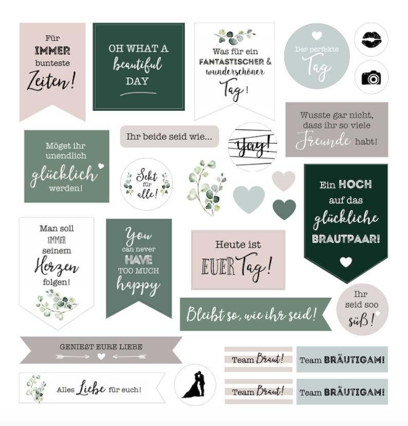 Aufkleber, Sticker für das Gästebuch |Greenery, Eukalyptus