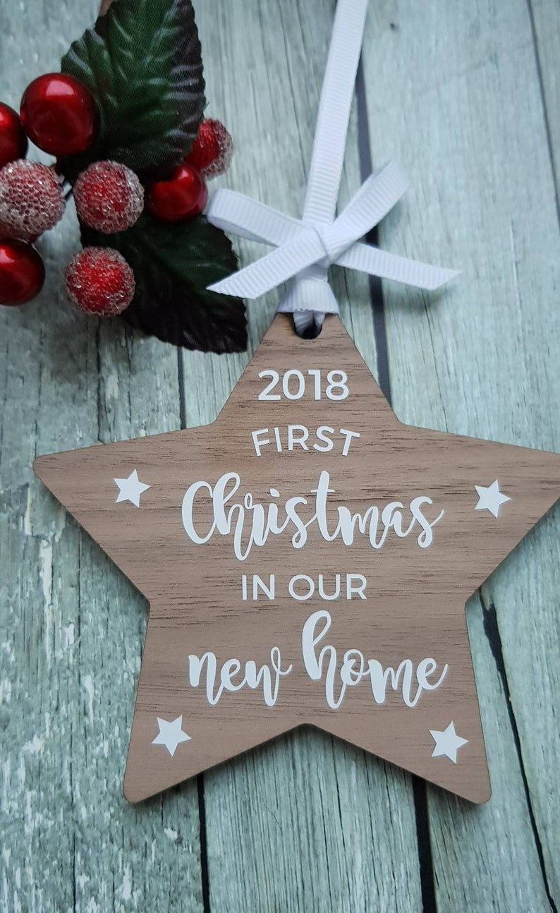 Christmas Bauble First Christmas In Our New Home 2018 Wooden Hanging Star Bauble Ornament Rustic Wooden Holiday Ornament
