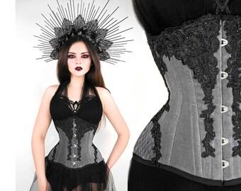228887270c GRAY velvet underbust CORSET veil black lace rhinestone gothic goth  waisttraining tightlacing steel boned beads