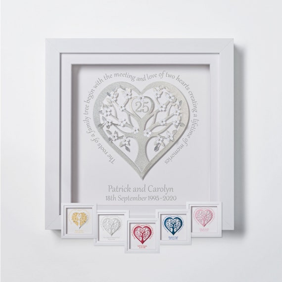 Personalised 25th silver wedding anniversary 3D gift frame// Mum and Dad