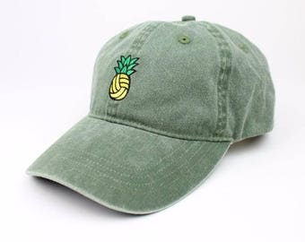 Pineapple Water Polo Volleyball Dad Hat - Vintage Wash Olive  f358a18d1e11